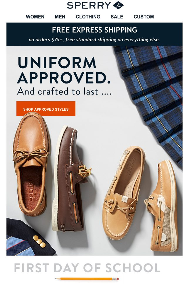 Sperry's Back to School Email Example