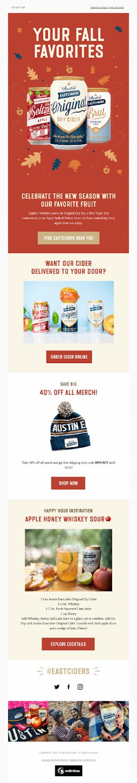 Austin Eastiders - Fall Email Campaign Example