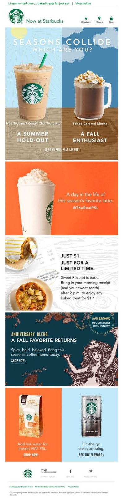 Starbucks - Fall email campaign example