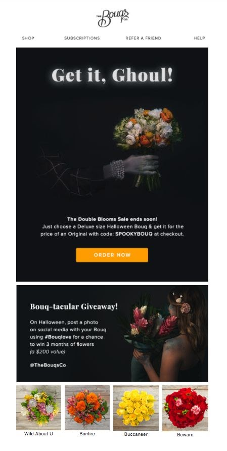 The Bouqs - Fall email campaign example
