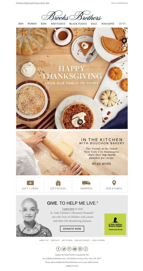 Thanksgiving Email Example by Brooks Brothers
